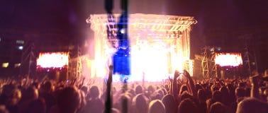 在摇滚乐音乐会的人群 免版税库存照片