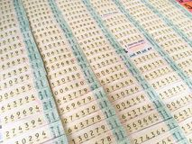 在摊位的抽奖券在泰国 库存图片