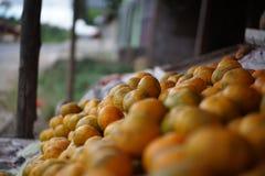 在摊位,棉兰印度尼西亚的石灰桔子 免版税图库摄影