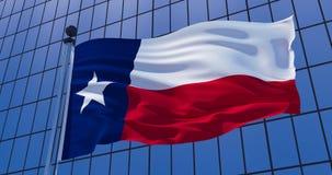 在摩天大楼大厦背景的得克萨斯旗子 3d例证 向量例证