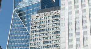 在摩天大楼游览欧洲中的特写镜头 图库摄影