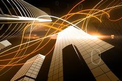 在摩天大楼的橙色光波浪 免版税库存图片