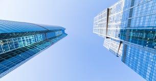 在摩天大楼的看法在莫斯科,俄罗斯 库存图片