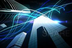在摩天大楼的蓝色光束 免版税库存图片