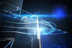 在摩天大楼的蓝色光束 库存图片