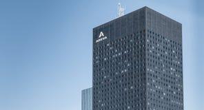 在摩天大楼阿海珐的特写镜头 免版税图库摄影