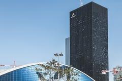 在摩天大楼阿海珐的特写镜头 免版税库存图片