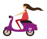 在摩托车的女孩 免版税库存图片