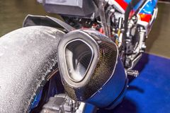 在摩托车的排气管 库存图片