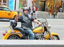 在摩托车的Selfie 库存图片