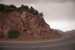 在摩洛哥的山的路 免版税库存图片