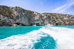 在撒丁岛海岛,意大利上的东部海岸线 图库摄影