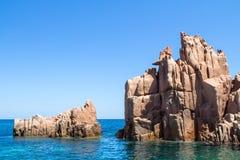 在撒丁岛海岛,意大利上的Rocca Rossa 库存图片