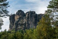 在撒克逊人的瑞士的Falkenstein, Elb砂岩山 库存图片
