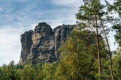 在撒克逊人的瑞士的Falkenstein, Elb砂岩山 库存照片