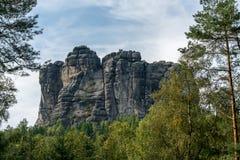 在撒克逊人的瑞士的Falkenstein, Elb砂岩山 免版税库存照片