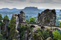 在撒克逊人的瑞士跨接名为Bastei 库存照片