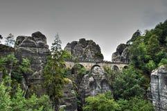 在撒克逊人的瑞士跨接名为Bastei 免版税库存图片