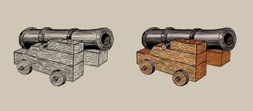 在支架的老大炮,手拉的例证 库存照片