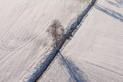 在收获的鸟瞰图在冬天调遣 免版税库存图片