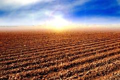 在收获以后的被耕种的土壤 免版税库存照片
