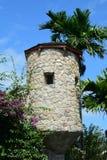 在收获Caye海岛的手表塔 库存照片