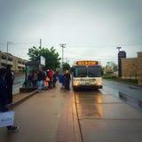 在改道哈利法克斯公共汽车的路线 库存图片