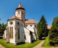 在攻击期间,被加强的教会在Tartlau Prejmer罗马尼亚,教会建造在防御墙壁里面保护人口, c 库存图片