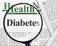 在放大镜下的糖尿病 免版税库存照片