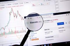 在放大镜下的Siacoin价格 库存图片