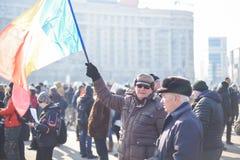 在政府前面的罗马尼亚人抗议 库存照片
