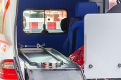 在救护车的看法 免版税库存图片