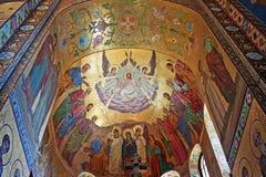 在救主的教会的内部马赛克溢出的B的 免版税库存照片