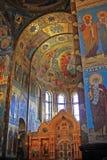 在救主的教会的内部马赛克溢出的B的 免版税库存图片
