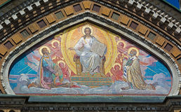 在救主的教会的外部的马赛克血液的 库存照片