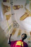在教会墙壁,埃塞俄比亚上的壁画 免版税库存图片