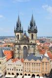 在教会捷克布拉格共和国tyn视图之后 免版税图库摄影