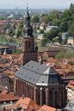 在教会海得尔堡之上 免版税库存照片