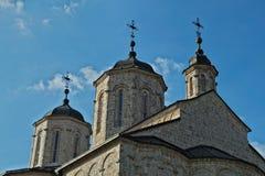 在教会的三个塔在修道院Kovilj,塞尔维亚里 免版税库存照片