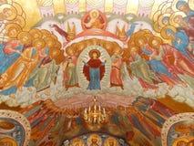 在教会的天花板的绘画 保佑的圣母玛丽亚(19世纪)的诞生 库存图片