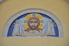 在教会里绘的美好的宗教画 库存图片