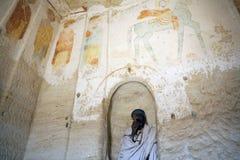 在教会,埃塞俄比亚的墙壁上绘的壁画 库存图片