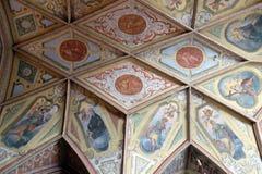 在教区教堂天花板的壁画圣的沃尔夫冈在奥地利 库存照片