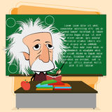 在教室场面的阿尔伯特・爱因斯坦动画片 库存图片
