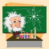 在教室场面的阿尔伯特・爱因斯坦动画片 免版税库存照片