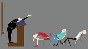 在教室导航学生,睡觉在演讲老师 向量例证
