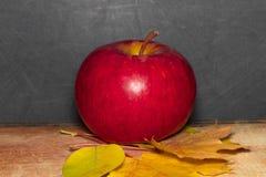 在教室桌上的红色苹果在黑板前面 库存图片