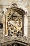 在教皇Palace,阿维尼翁,法国的罗马教皇的象征 库存图片