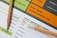 在教育文件的铅笔 免版税库存图片