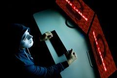 在敞篷下的被掩没的黑客使用计算机乱砍入系统和设法做计算机犯罪 免版税库存照片
